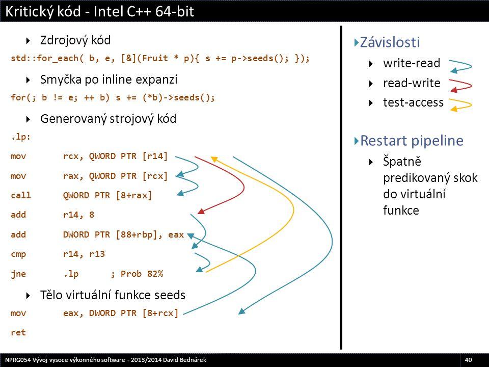  Závislosti  write-read  read-write  test-access  Restart pipeline  Špatně predikovaný skok do virtuální funkce  Zdrojový kód std::for_each( b,