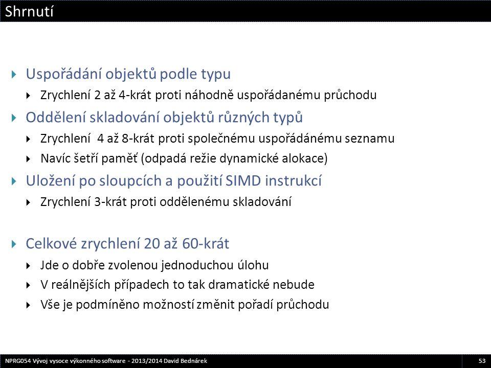 Shrnutí 53NPRG054 Vývoj vysoce výkonného software - 2013/2014 David Bednárek  Uspořádání objektů podle typu  Zrychlení 2 až 4-krát proti náhodně usp