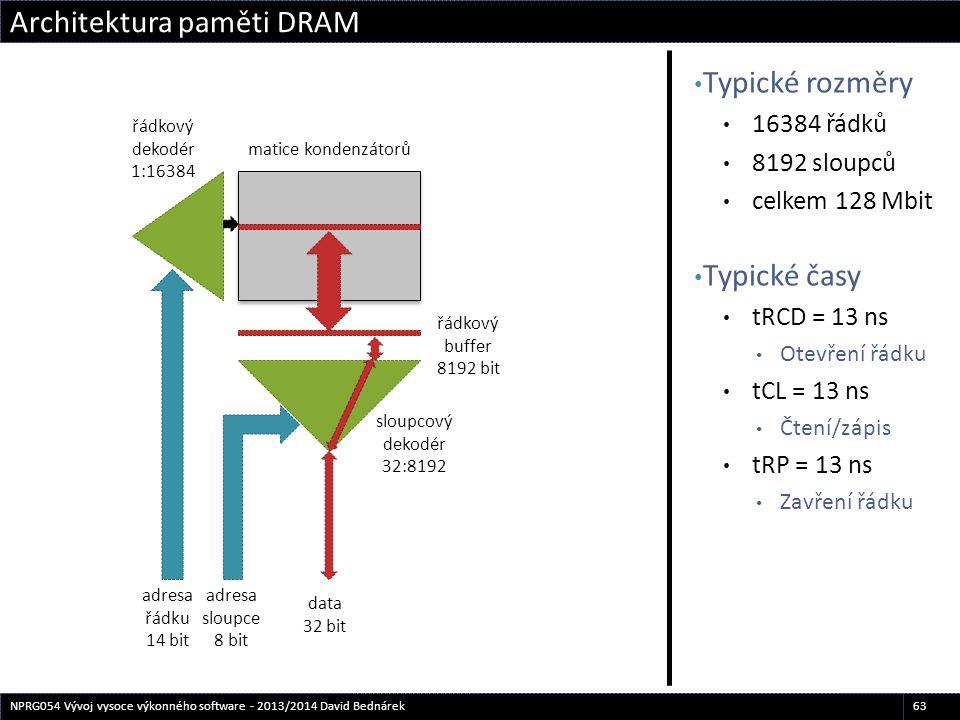 Typické rozměry 16384 řádků 8192 sloupců celkem 128 Mbit Typické časy tRCD = 13 ns Otevření řádku tCL = 13 ns Čtení/zápis tRP = 13 ns Zavření řádku Ar