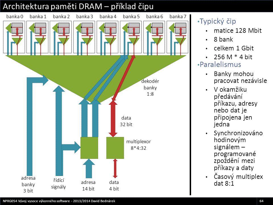 Typický čip matice 128 Mbit 8 bank celkem 1 Gbit 256 M * 4 bit Paralelismus Banky mohou pracovat nezávisle V okamžiku předávání příkazu, adresy nebo d