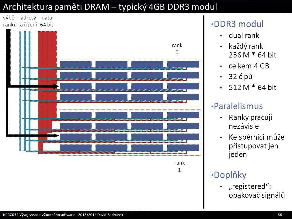 DDR3 modul dual rank každý rank 256 M * 64 bit celkem 4 GB 32 čipů 512 M * 64 bit Paralelismus Ranky pracují nezávisle Ke sběrnici může přistupovat je