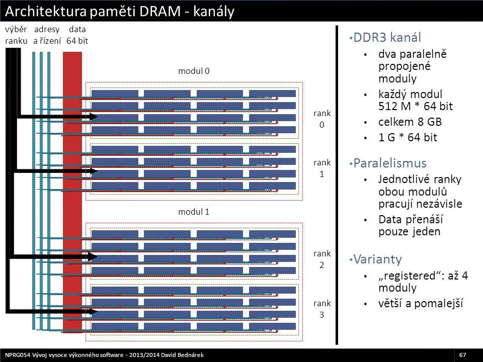 DDR3 kanál dva paralelně propojené moduly každý modul 512 M * 64 bit celkem 8 GB 1 G * 64 bit Paralelismus Jednotlivé ranky obou modulů pracují nezávi
