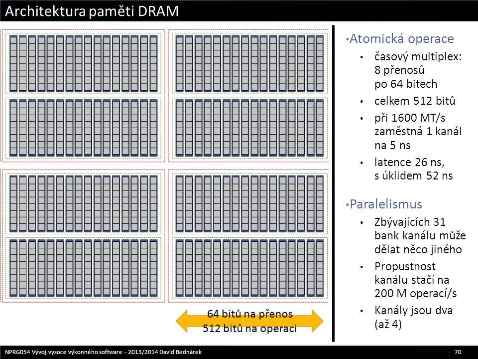 Atomická operace časový multiplex: 8 přenosů po 64 bitech celkem 512 bitů při 1600 MT/s zaměstná 1 kanál na 5 ns latence 26 ns, s úklidem 52 ns Parale