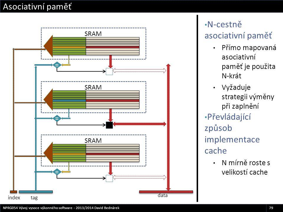 N-cestně asociativní paměť Přímo mapovaná asociativní paměť je použita N-krát Vyžaduje strategii výměny při zaplnění Převládající způsob implementace
