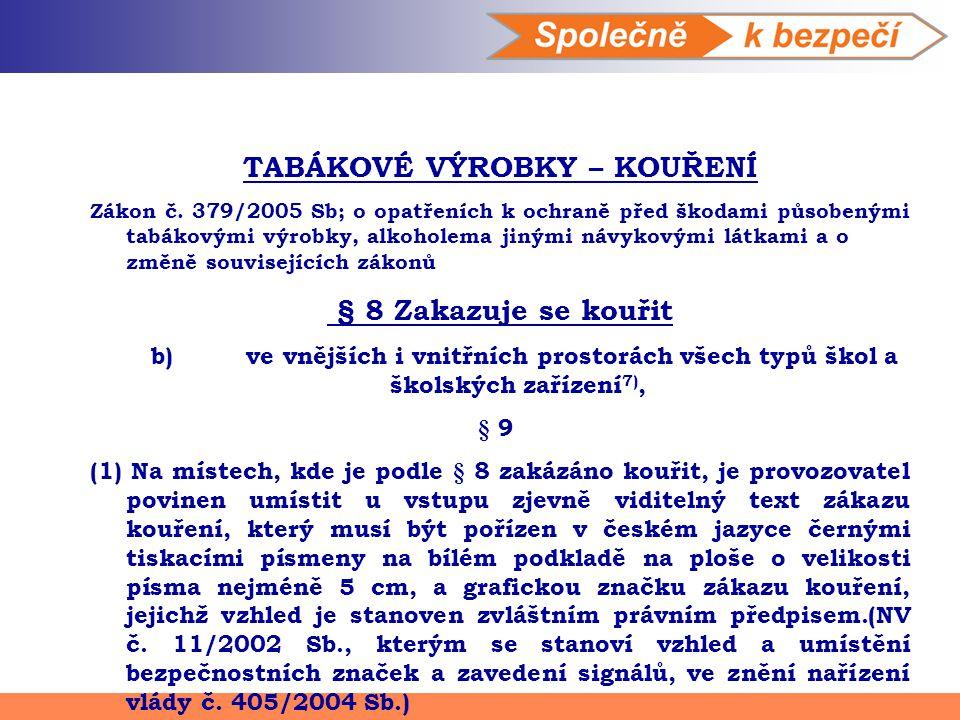 TABÁKOVÉ VÝROBKY – KOUŘENÍ Zákon č. 379/2005 Sb; o opatřeních k ochraně před škodami působenými tabákovými výrobky, alkoholema jinými návykovými látka