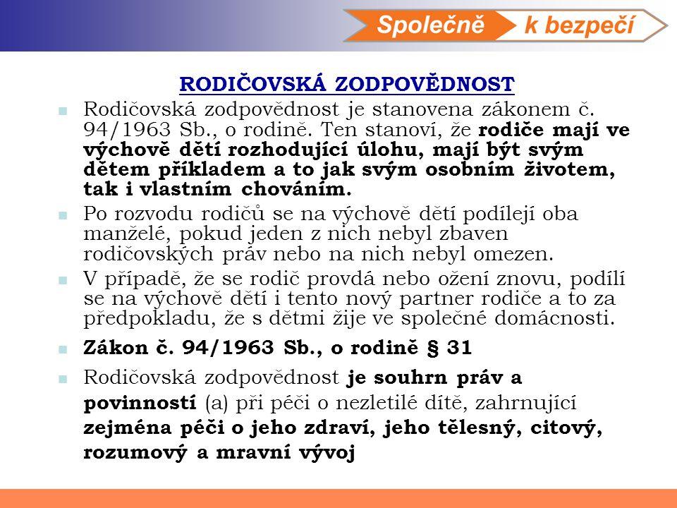RODIČOVSKÁ ZODPOVĚDNOST Rodičovská zodpovědnost je stanovena zákonem č. 94/1963 Sb., o rodině. Ten stanoví, že rodiče mají ve výchově dětí rozhodující