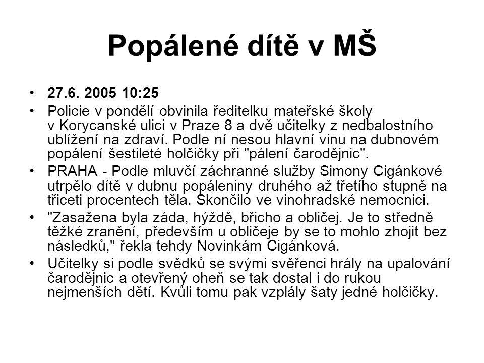Popálené dítě v MŠ 27.6. 2005 10:25 Policie v pondělí obvinila ředitelku mateřské školy v Korycanské ulici v Praze 8 a dvě učitelky z nedbalostního ub