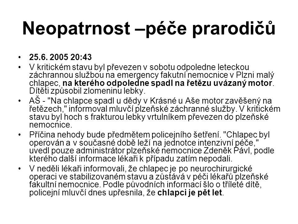 Neopatrnost –péče prarodičů 25.6. 2005 20:43 V kritickém stavu byl převezen v sobotu odpoledne leteckou záchrannou službou na emergency fakutní nemocn
