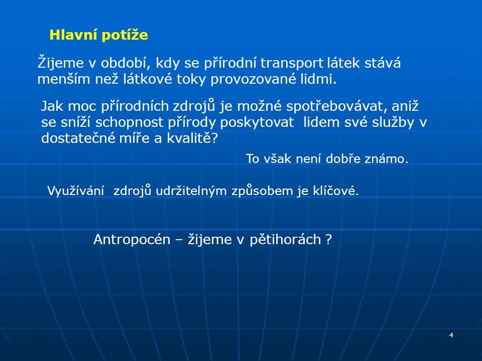 5 Globální problémy / OSN Stockholm 1972, kráceno /: globální problémy spojené s atmosférou: zvýšený skleníkový efekt narušení ozonové vrstvy znečištění ovzduší – kyselé deště, prach nadměrné čerpání NOZE i OZE (voda, půda); poškození půdy, eroze půdy, globální ohrožení biodiverzity - genetické základny nebezpečné odpady Hlavní potíže s přírodou - témata