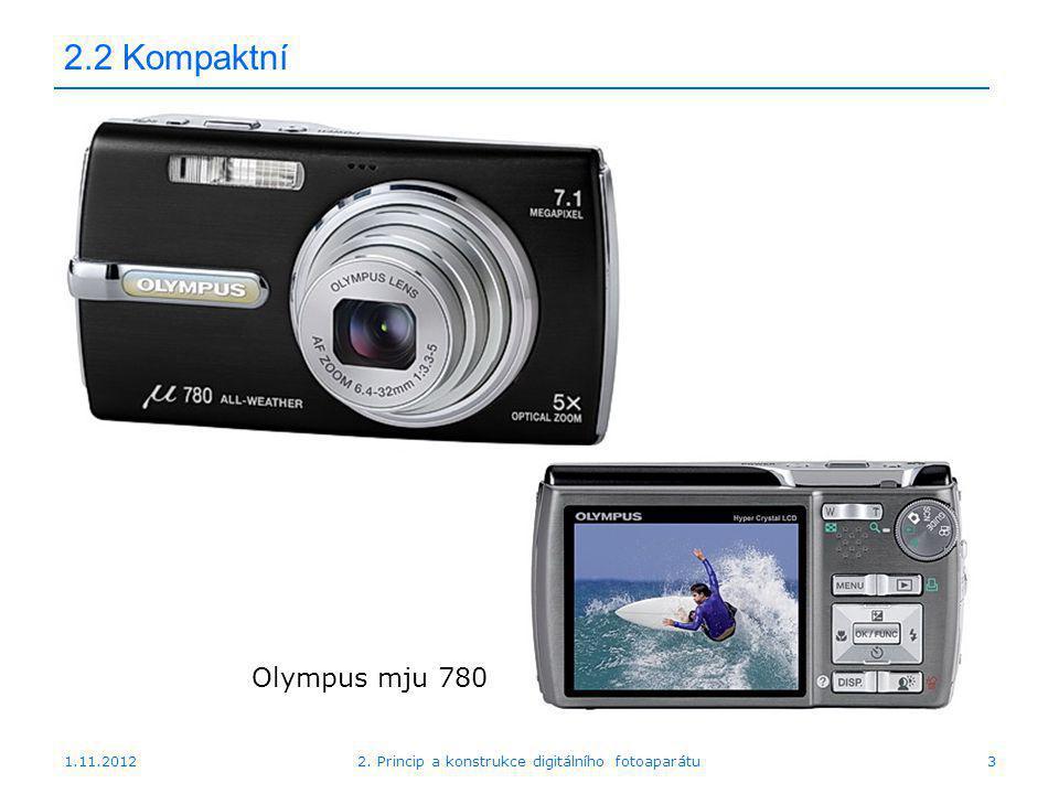 """1.11.20122. Princip a konstrukce digitálního fotoaparátu24 2.2 """"Nezrcadlovka Sony NEX 7"""