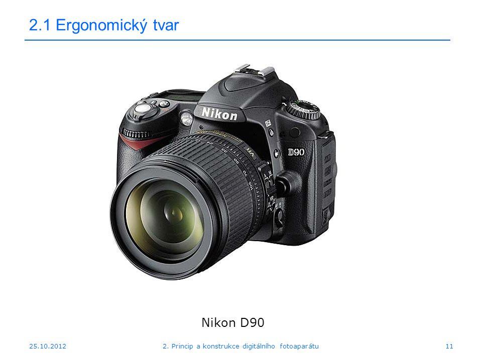 25.10.2012 2.1 Ergonomický tvar Nikon D90 112. Princip a konstrukce digitálního fotoaparátu