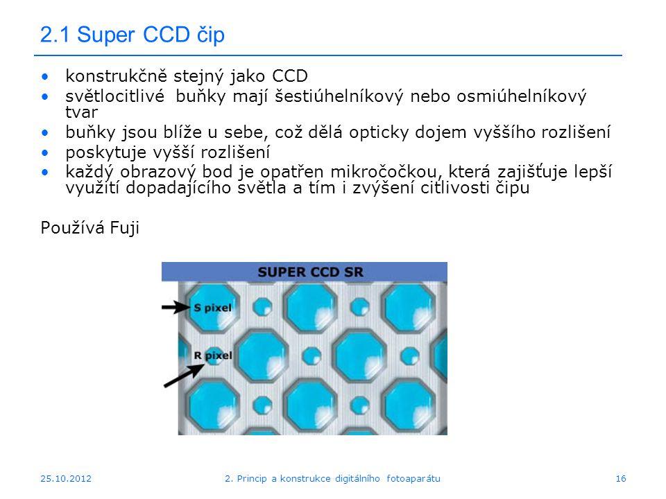 25.10.2012 2.1 Super CCD čip konstrukčně stejný jako CCD světlocitlivé buňky mají šestiúhelníkový nebo osmiúhelníkový tvar buňky jsou blíže u sebe, co