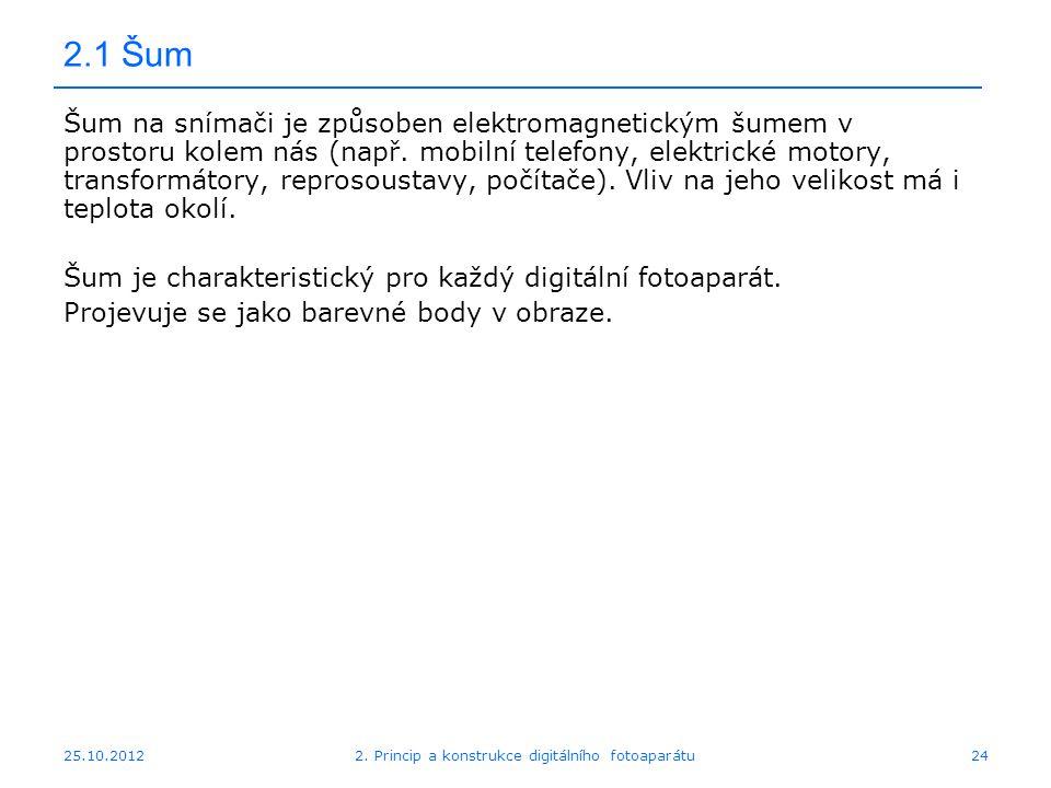 25.10.2012 2.1 Šum Šum na snímači je způsoben elektromagnetickým šumem v prostoru kolem nás (např. mobilní telefony, elektrické motory, transformátory