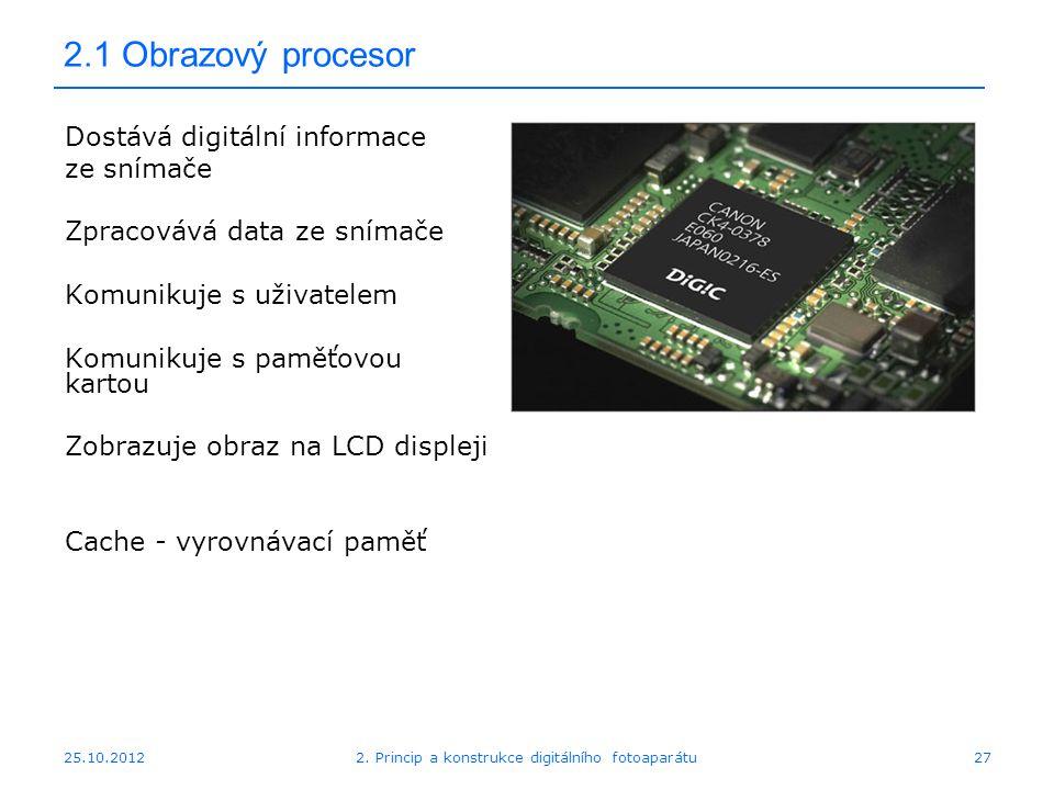 25.10.2012 2.1 Obrazový procesor Dostává digitální informace ze snímače Zpracovává data ze snímače Komunikuje s uživatelem Komunikuje s paměťovou kart