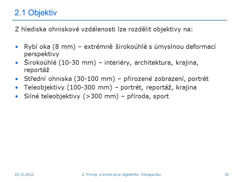 25.10.2012 2.1 Objektiv Z hlediska ohniskové vzdálenosti lze rozdělit objektivy na: Rybí oka (8 mm) – extrémně širokoúhlé s úmyslnou deformací perspek