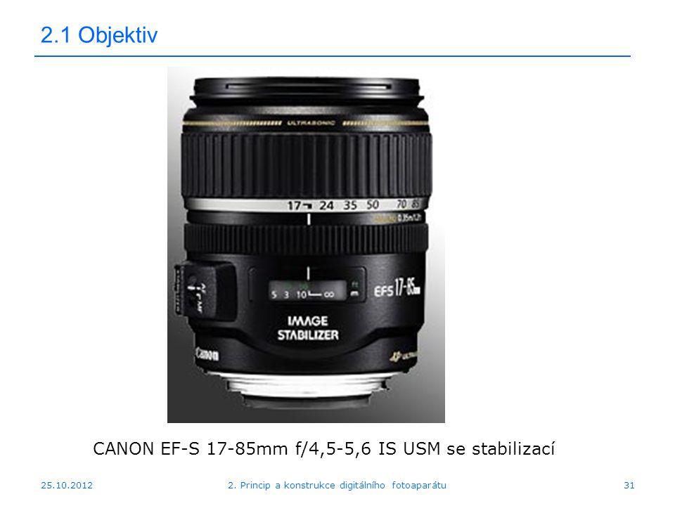 25.10.2012 2.1 Objektiv CANON EF-S 17-85mm f/4,5-5,6 IS USM se stabilizací 312. Princip a konstrukce digitálního fotoaparátu