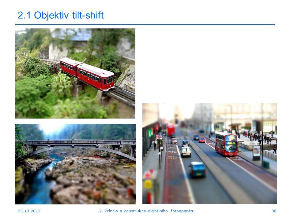 25.10.2012 2.1 Objektiv tilt-shift 362. Princip a konstrukce digitálního fotoaparátu
