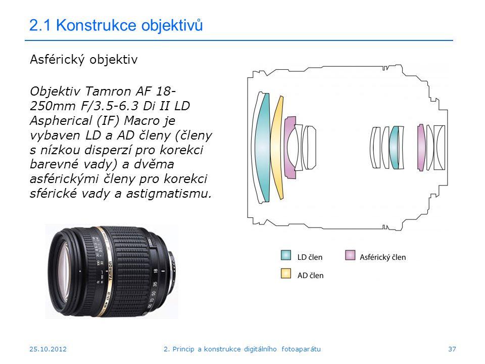 25.10.2012 2.1 Konstrukce objektivů Asférický objektiv Objektiv Tamron AF 18- 250mm F/3.5-6.3 Di II LD Aspherical (IF) Macro je vybaven LD a AD členy