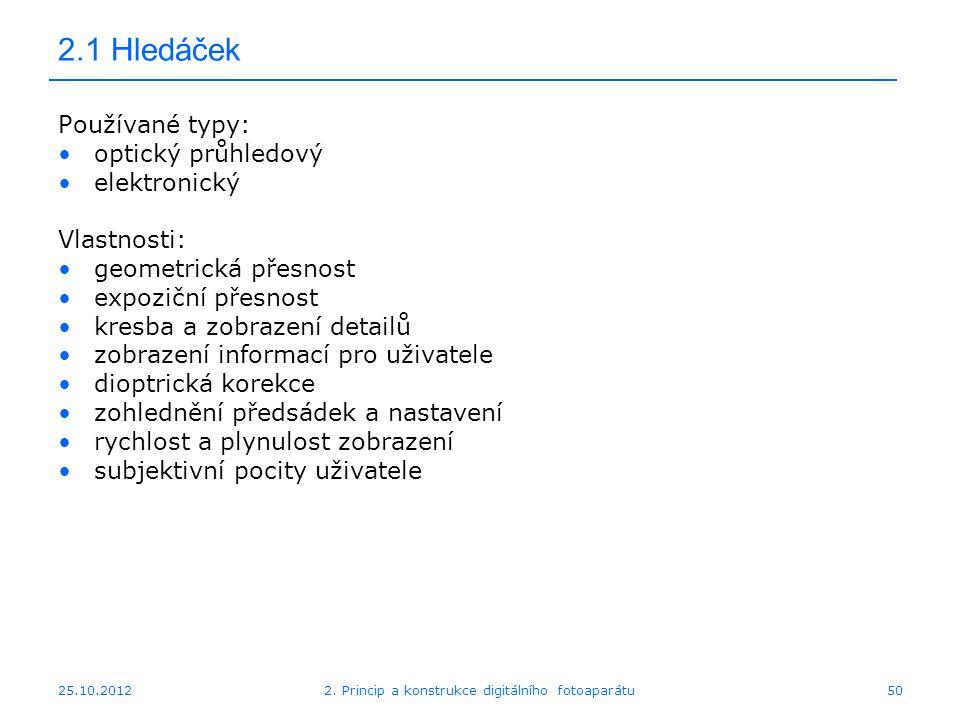 25.10.2012 2.1 Hledáček Používané typy: optický průhledový elektronický Vlastnosti: geometrická přesnost expoziční přesnost kresba a zobrazení detailů