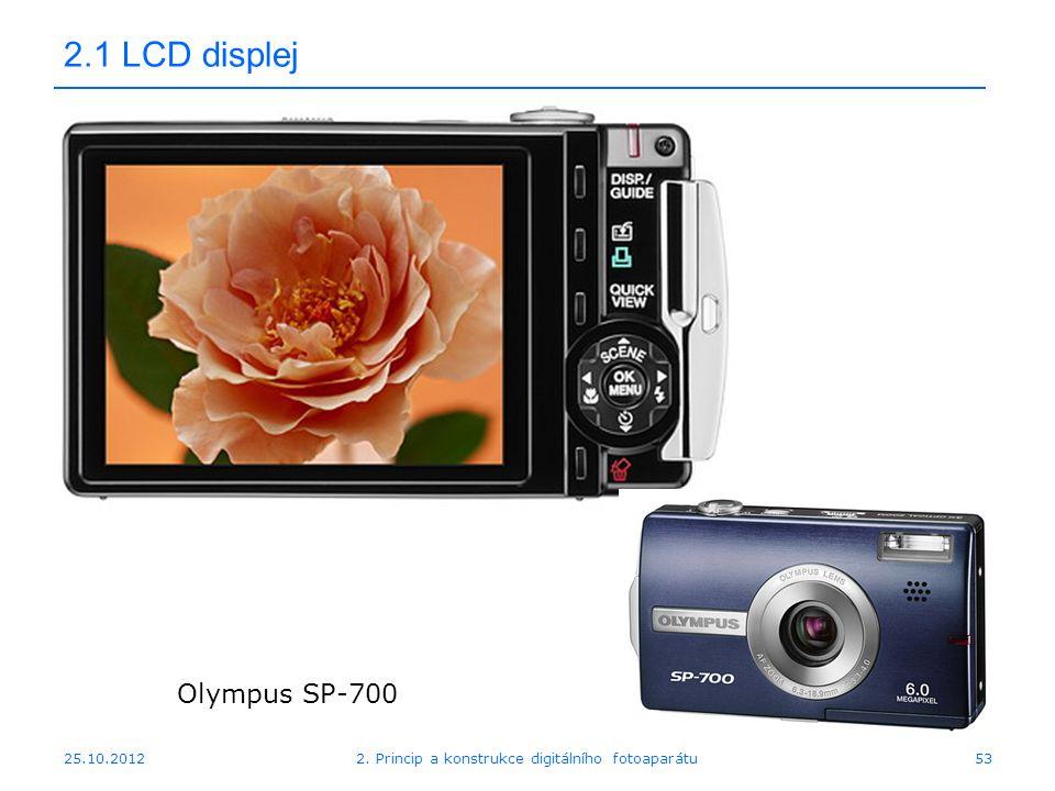 25.10.2012 2.1 LCD displej Olympus SP-700 532. Princip a konstrukce digitálního fotoaparátu
