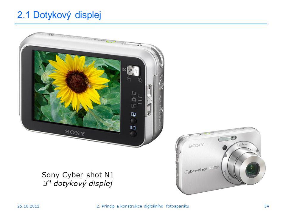 """25.10.2012 2.1 Dotykový displej Sony Cyber-shot N1 3"""" dotykový displej 542. Princip a konstrukce digitálního fotoaparátu"""