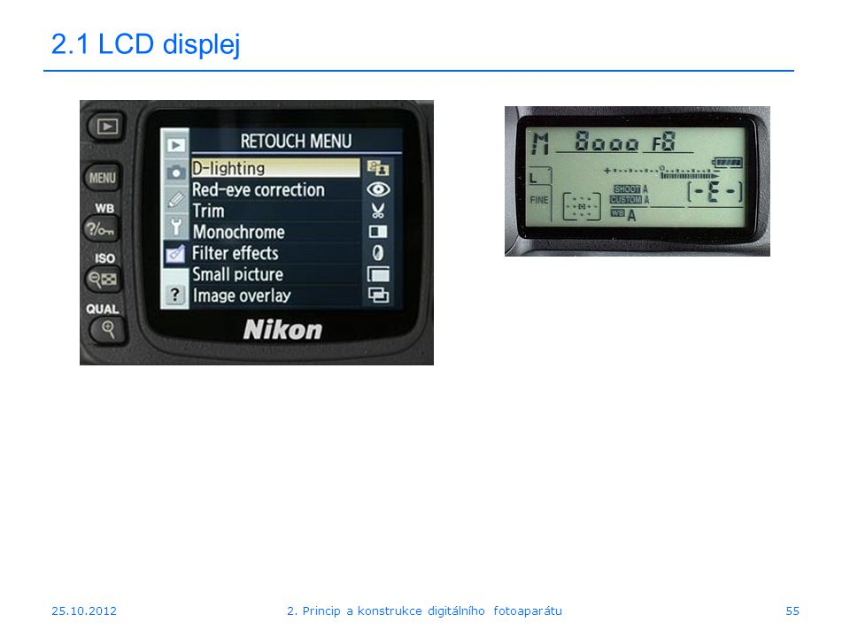 25.10.2012 2.1 LCD displej 552. Princip a konstrukce digitálního fotoaparátu
