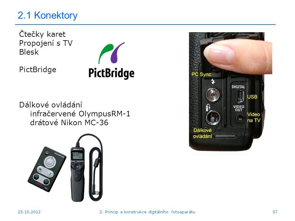 25.10.2012 2.1 Konektory Čtečky karet Propojení s TV Blesk PictBridge Dálkové ovládání infračervené OlympusRM-1 drátové Nikon MC-36 572. Princip a kon