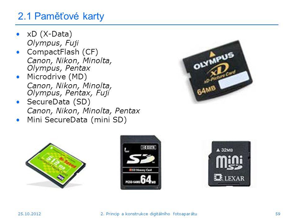 25.10.2012 2.1 Paměťové karty xD (X-Data) Olympus, Fuji CompactFlash (CF) Canon, Nikon, Minolta, Olympus, Pentax Microdrive (MD) Canon, Nikon, Minolta