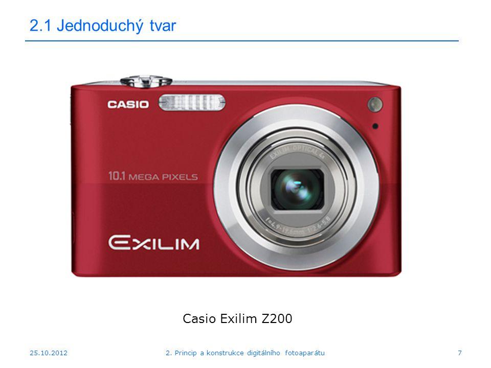 25.10.2012 2.1 Jednoduchý tvar Casio Exilim Z200 72. Princip a konstrukce digitálního fotoaparátu