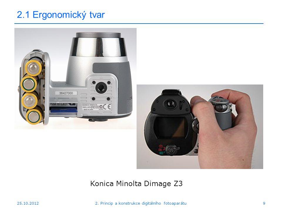 25.10.2012 2.1 Ergonomický tvar Konica Minolta Dimage Z3 92. Princip a konstrukce digitálního fotoaparátu