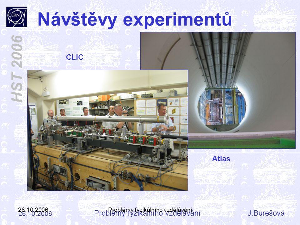 Problémy fyzikálního vzděláváníJ.Burešová 26.10.2006 HST 2006 26.10.2006Problémy fyzikálního vzdělávání Návštěvy experimentů Atlas CLIC