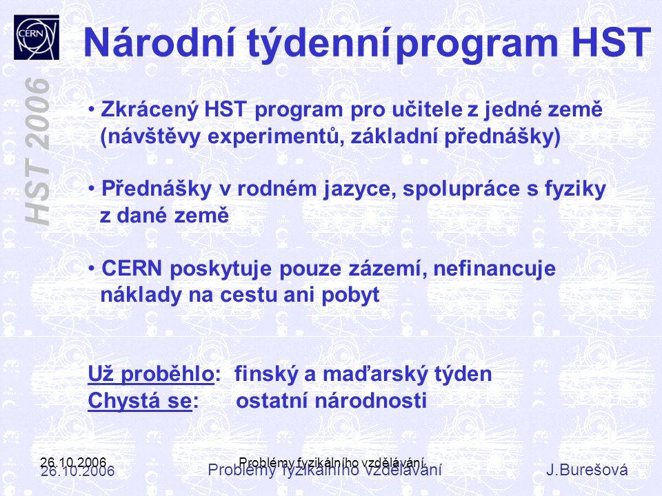 Problémy fyzikálního vzděláváníJ.Burešová 26.10.2006 HST 2006 26.10.2006Problémy fyzikálního vzdělávání Národní týdenní program HST Zkrácený HST progr