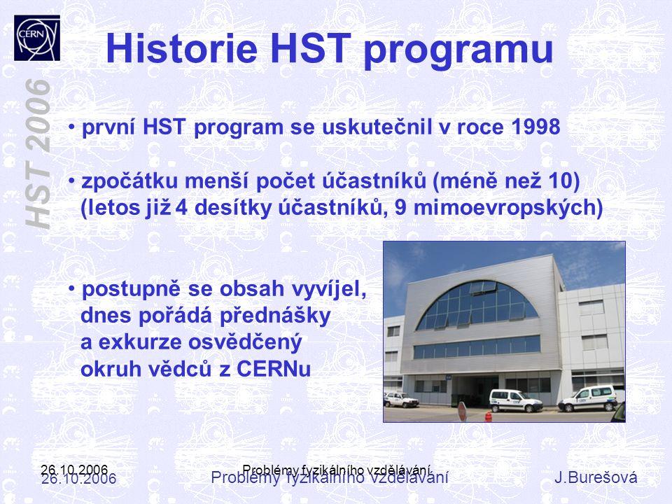 Problémy fyzikálního vzděláváníJ.Burešová 26.10.2006 HST 2006 26.10.2006Problémy fyzikálního vzdělávání první HST program se uskutečnil v roce 1998 zp