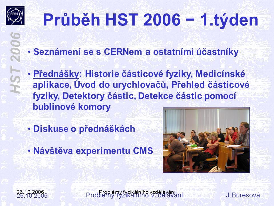 Problémy fyzikálního vzděláváníJ.Burešová 26.10.2006 HST 2006 26.10.2006Problémy fyzikálního vzdělávání Seznámení se s CERNem a ostatními účastníky Př