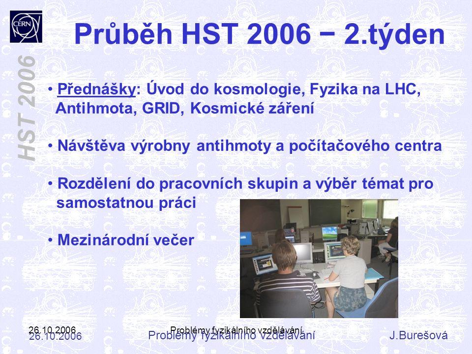 Problémy fyzikálního vzděláváníJ.Burešová 26.10.2006 HST 2006 26.10.2006Problémy fyzikálního vzdělávání Přednášky: Úvod do kosmologie, Fyzika na LHC,