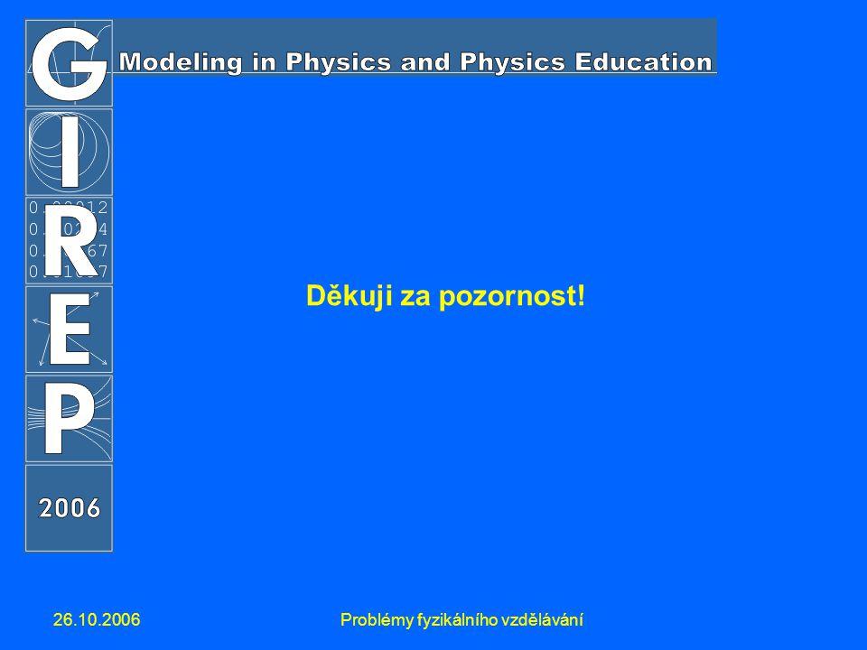26.10.2006Problémy fyzikálního vzdělávání Děkuji za pozornost!