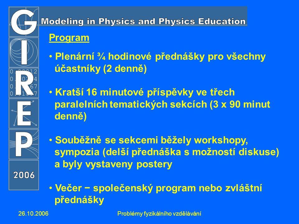 26.10.2006Problémy fyzikálního vzdělávání Program Plenární ¾ hodinové přednášky pro všechny účastníky (2 denně) Kratší 16 minutové příspěvky ve třech paralelních tematických sekcích (3 x 90 minut denně) Souběžně se sekcemi běžely workshopy, sympozia (delší přednáška s možností diskuse) a byly vystaveny postery Večer − společenský program nebo zvláštní přednášky