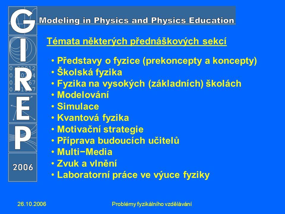 26.10.2006Problémy fyzikálního vzdělávání Témata některých přednáškových sekcí Představy o fyzice (prekoncepty a koncepty) Školská fyzika Fyzika na vysokých (základních) školách Modelování Simulace Kvantová fyzika Motivační strategie Příprava budoucích učitelů Multi−Media Zvuk a vlnění Laboratorní práce ve výuce fyziky