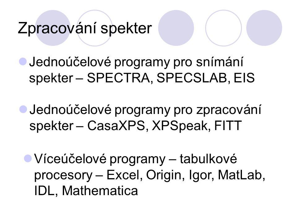 Zpracování spekter Jednoúčelové programy pro snímání spekter – SPECTRA, SPECSLAB, EIS Víceúčelové programy – tabulkové procesory – Excel, Origin, Igor