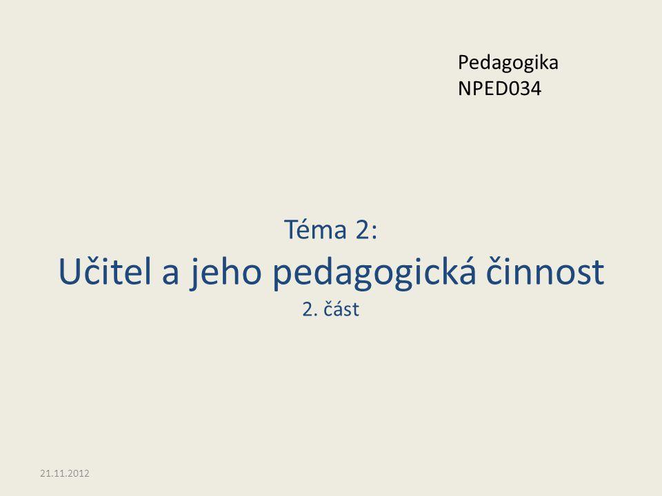 Téma 2: Učitel a jeho pedagogická činnost 2. část 21.11.2012 Pedagogika NPED034