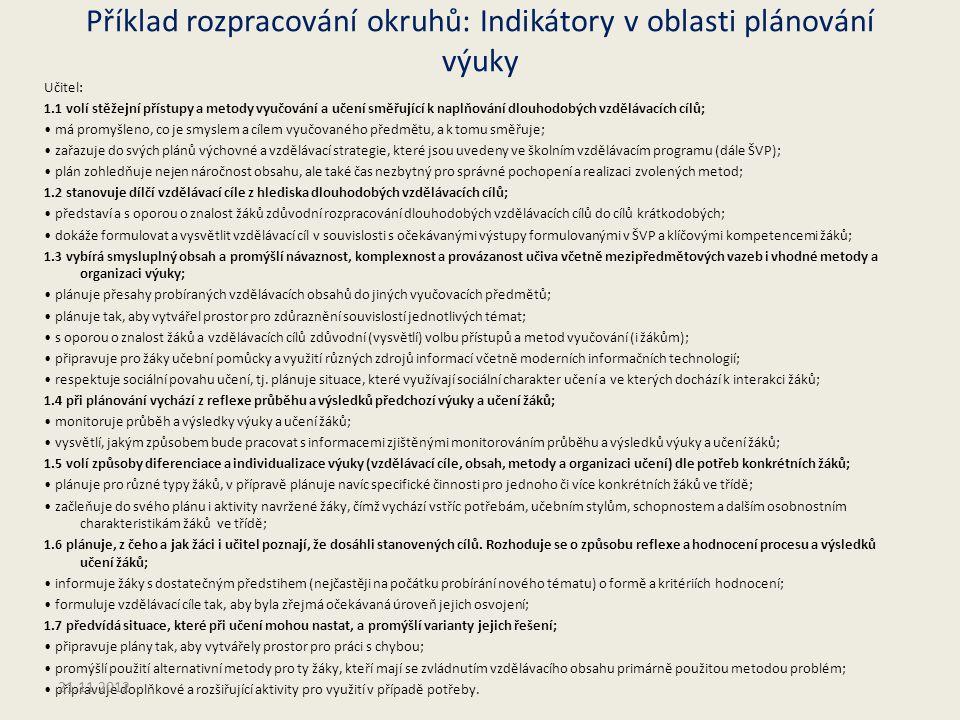 Příklad rozpracování okruhů: Indikátory v oblasti plánování výuky Učitel: 1.1 volí stěžejní přístupy a metody vyučování a učení směřující k naplňování