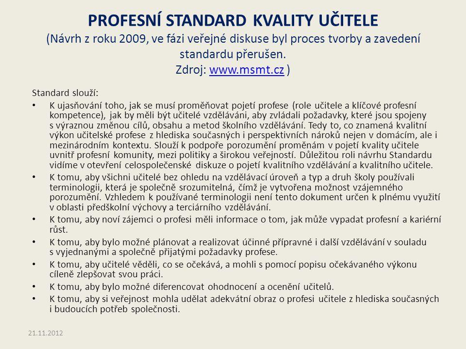 PROFESNÍ STANDARD KVALITY UČITELE (Návrh z roku 2009, ve fázi veřejné diskuse byl proces tvorby a zavedení standardu přerušen. Zdroj: www.msmt.cz )www
