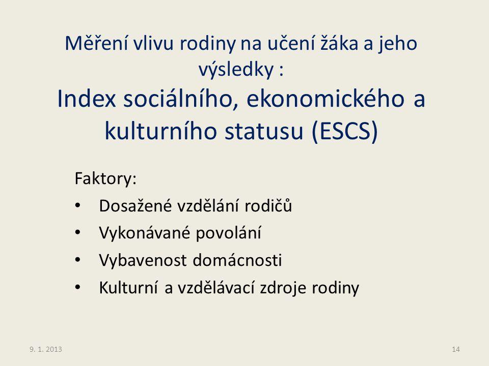 Měření vlivu rodiny na učení žáka a jeho výsledky : Index sociálního, ekonomického a kulturního statusu (ESCS) Faktory: Dosažené vzdělání rodičů Vykon