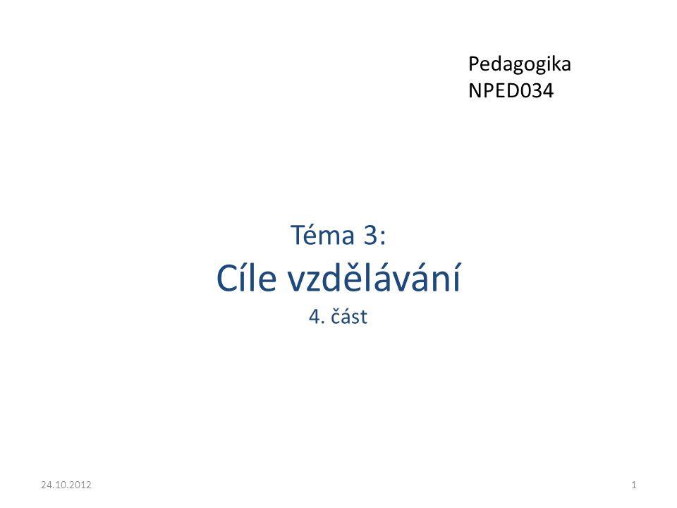 Téma 3: Cíle vzdělávání 4. část 24.10.20121 Pedagogika NPED034
