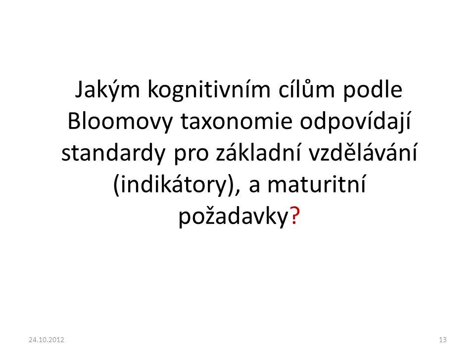 24.10.201213 Jakým kognitivním cílům podle Bloomovy taxonomie odpovídají standardy pro základní vzdělávání (indikátory), a maturitní požadavky?