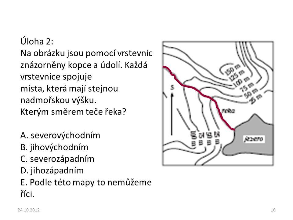 Úloha 2: Na obrázku jsou pomocí vrstevnic znázorněny kopce a údolí.