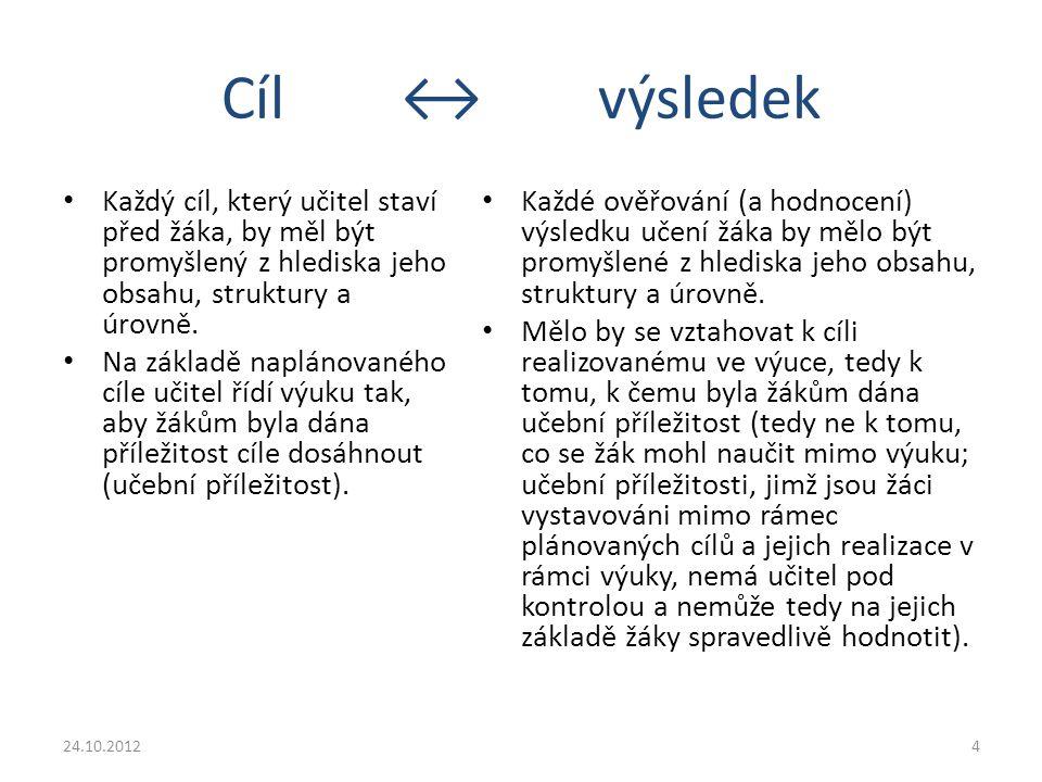 Vztah cíle a výsledků v rámcových vzdělávacích programech Obecné cíle klíčové kompetence » Očekávané výstupy 24.10.20125