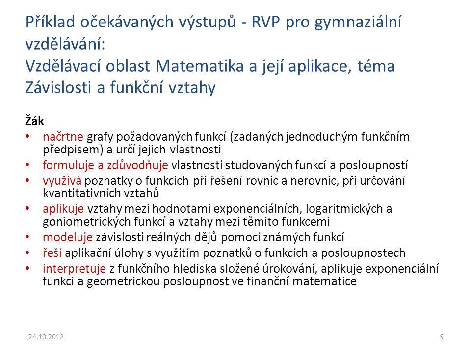 Příklad očekávaných výstupů – RVP pro gymnaziální vzdělávání: Vzdělávací oblast Člověk a příroda – část Fyzika, téma Stavba a vlastnosti látek Žák objasní souvislost mezi vlastnostmi látek různých skupenství a jejich vnitřní strukturou aplikuje s porozuměním termodynamické zákony při řešení konkrétních fyzikálních úloh využívá stavovou rovnici ideálního plynu stálé hmotnosti při předvídání stavových změn plynu analyzuje vznik a průběh procesu pružné deformace pevných těles porovná zákonitosti teplotní roztažnosti pevných těles a kapalin a využívá je k řešení praktických problémů 24.10.20127