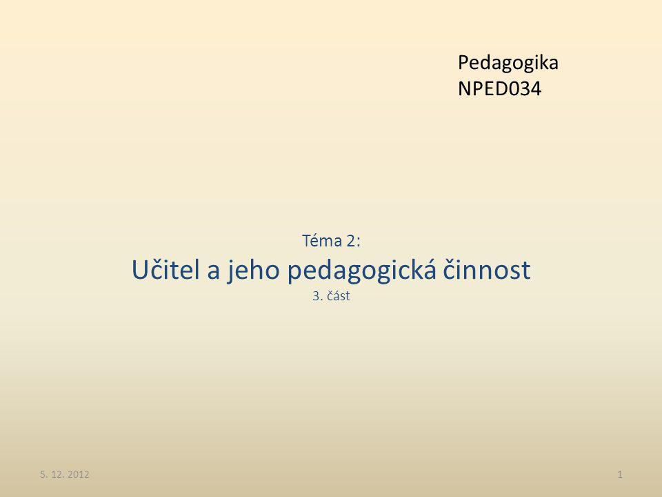Téma 2: Učitel a jeho pedagogická činnost 3. část 5. 12. 20121 Pedagogika NPED034