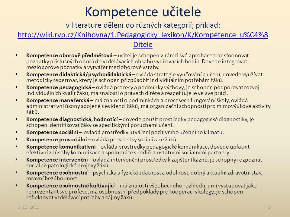 Kompetence učitele v literatuře dělení do různých kategorií; příklad: http://wiki.rvp.cz/Knihovna/1.Pedagogicky_lexikon/K/Kompetence_u%C4%8 Ditele htt